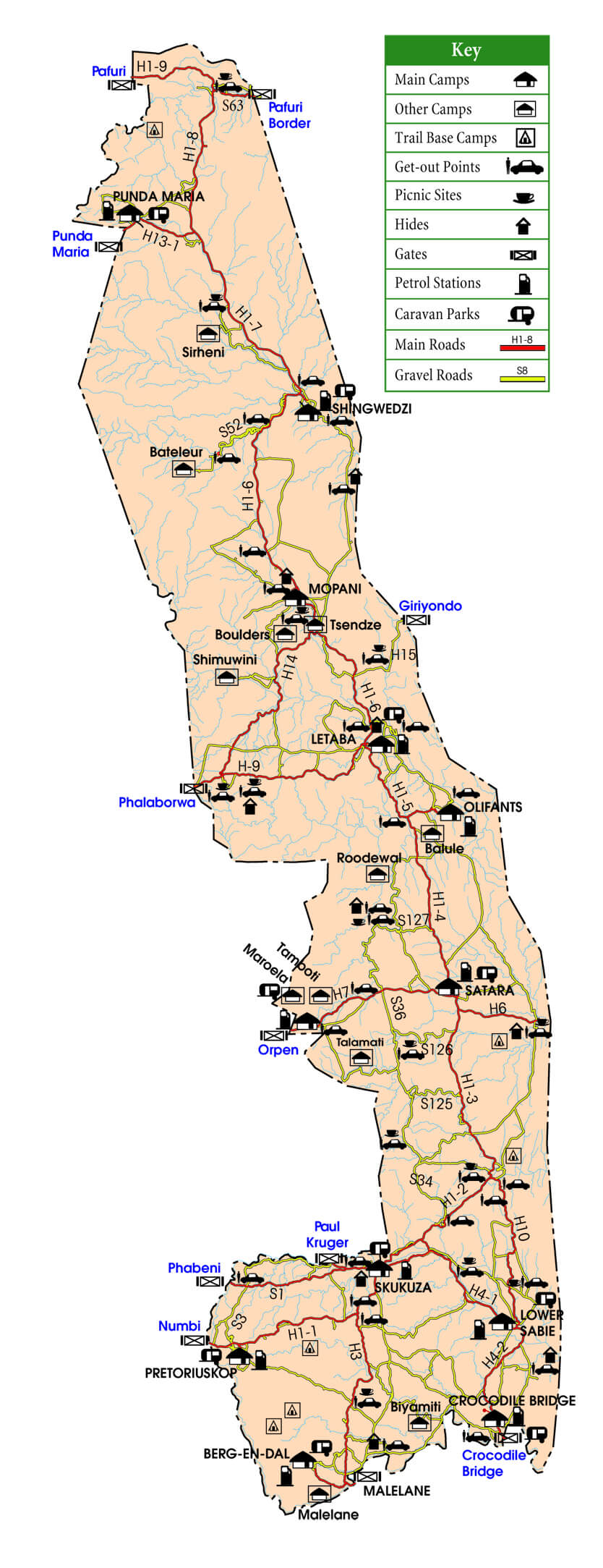 Mapa del Parque Kruger - Bichito viajero