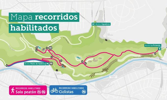 Mapa de recorridos habilitados en la reapertura del Parquemet, coronavirus